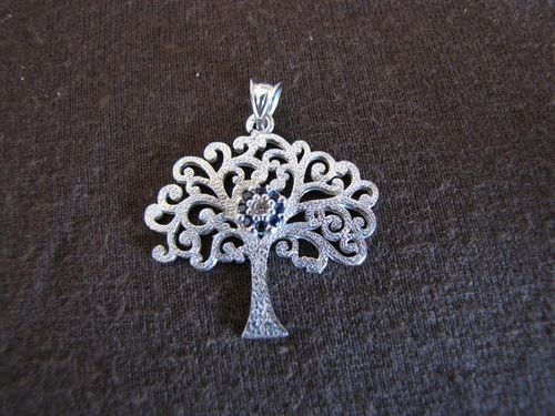 Silver Evil Eye Tree of Life Pendant