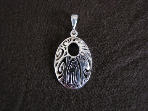 Oval Silver Cut Out Spirals Pendant