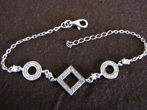 Silver Circles and Square Bracelet