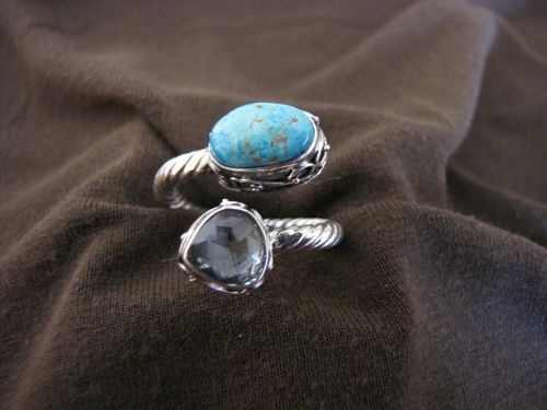 Silver Turquoise and Blue Topaz Ring