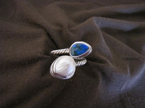 Silver Blue Opal and Pearl Ring