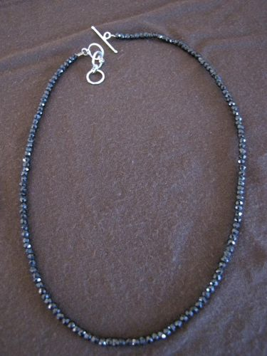 Silver Black Spinel Bead Necklace