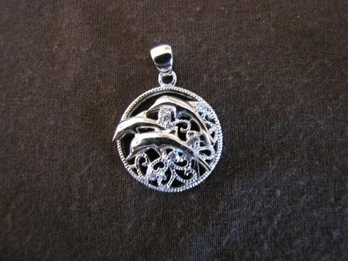Silver Cubic Zirconia Dolphins Pendant