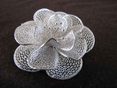 Silver Filigree Orchid Brooch