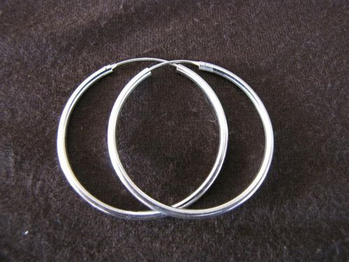 Silver 40mm by 2mm Hoop Earrings