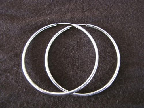 Silver 2mm by 55mm Hoop Earrings