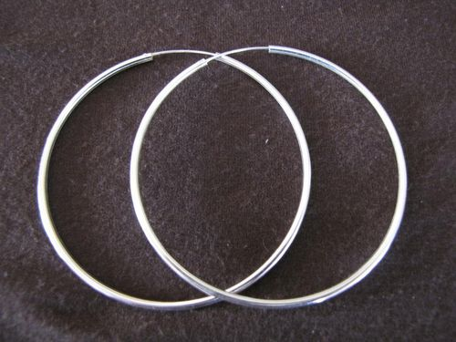 Silver 2mm by 70mm Hoop Earrings