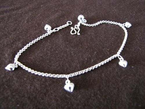 Silver Hearts and Bell Ankle Chain