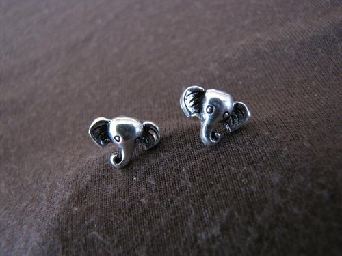 Silver Elephant's Head Stud Earrings