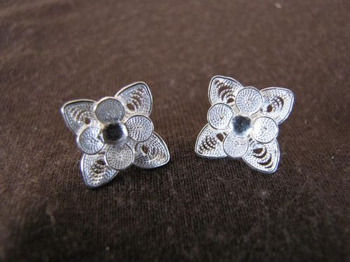 Silver Filigree Flower Stud Earrings