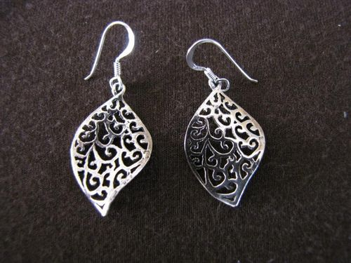 Silver Ellipse Cut-Out Scroll Earrings