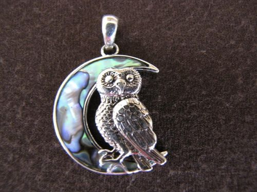 Silver Paua Shell Owl in Moon Pendant