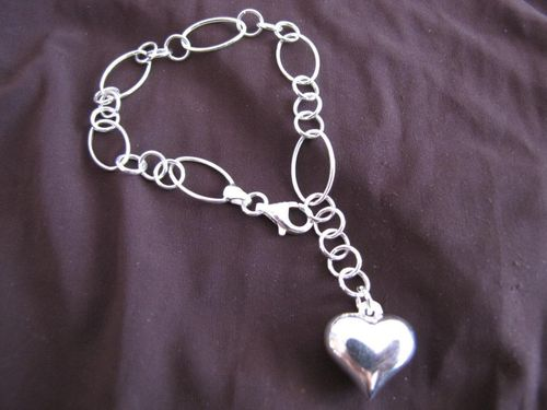 Silver Bracelet with Heart Charm