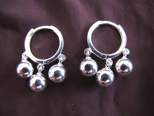Silver Hoop With 3 Balls Earrings
