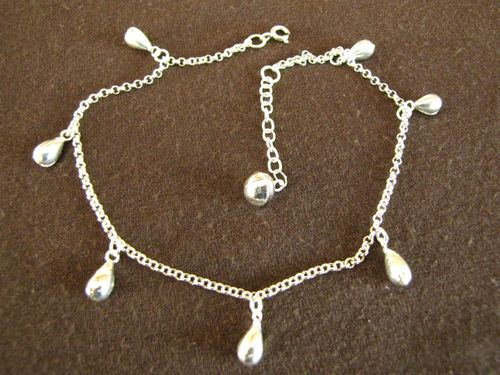 Silver Teardrops Ankle Chain