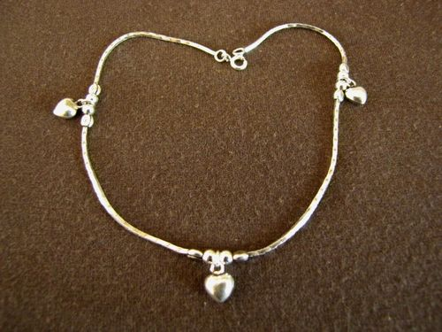 Oxidised Silver Hearts Ankle Chain