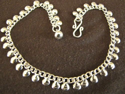 Silver Curb Chain and Discs Anklet