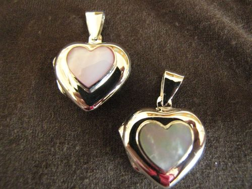 Silver Mother of Pearl Heart Locket