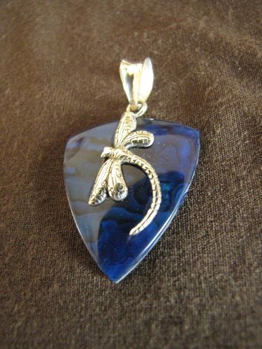 Silver Dragonfly Blue Paua Shell Pendant