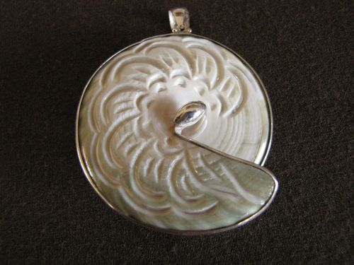 Silver Carved Shell Pendant