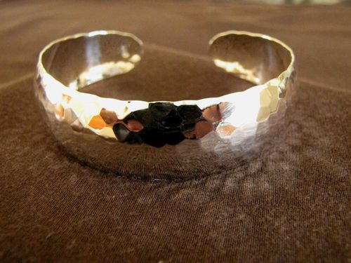 Hammered Silver 20mm Open Back  Bangle