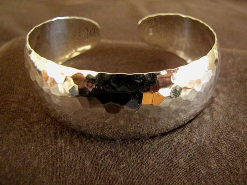 Hammered Silver 25mm Open Back Bangle