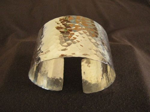 Hammered Silver Open Back Bangle