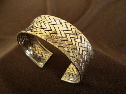 Silver Woven Open Back Bangle