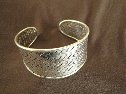 Silver Woven Tapered Open Back Bangle