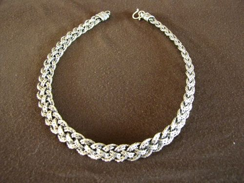Oxidised Silver Braided Foxtail Necklace