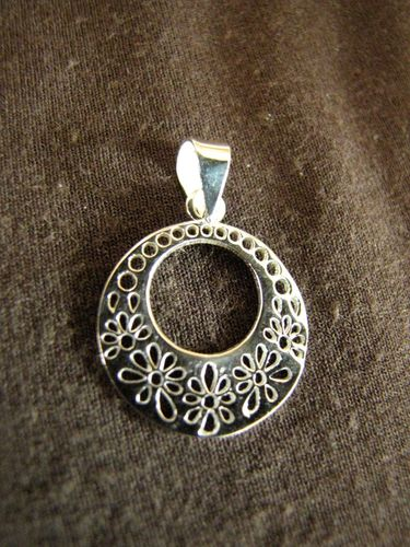 Round Silver Cut Out Flowers Pendant