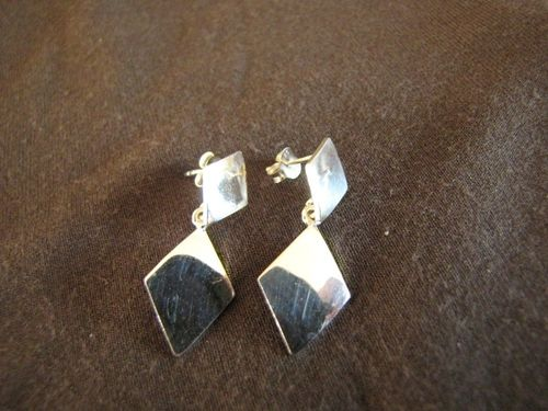 Silver Diamonds Drop Stud Earrings