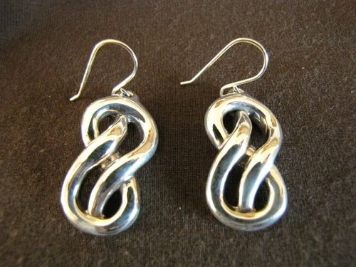 Silver Knot Drop Earrings