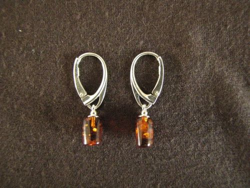 Silver Amber Cylinder Earrings