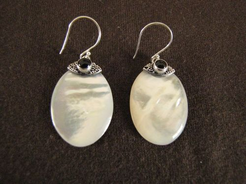 Silver White Mother of Pearl Earrings