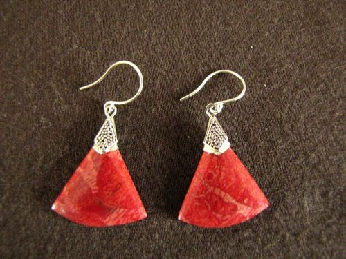 Silver Red Coral Segment Earrings