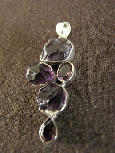 Silver Rough & Faceted Amethyst Pendant