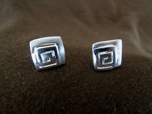 Silver Greek Key Spiral Stud Earrings