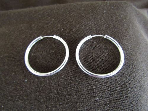 Silver 2mm by 25mm Hoop Earrings