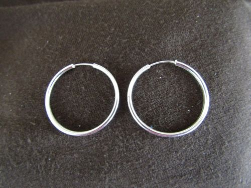 Silver 2mm by 28mm Hoop Earrings