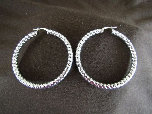 Silver Textured Polished Hoop Earrings