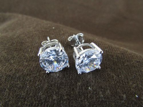 Silver 8mm Round Cubic Zirconia Earrings