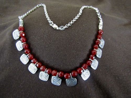 Silver Red Agate & Greek Key Necklace