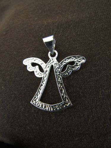 Textured Silver Cut-Out Angel Pendant