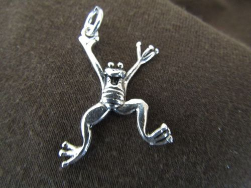 Silver Jumping Frog Pendant
