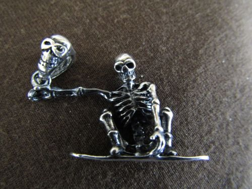 Silver Skeleton on a Surfboard Pendant