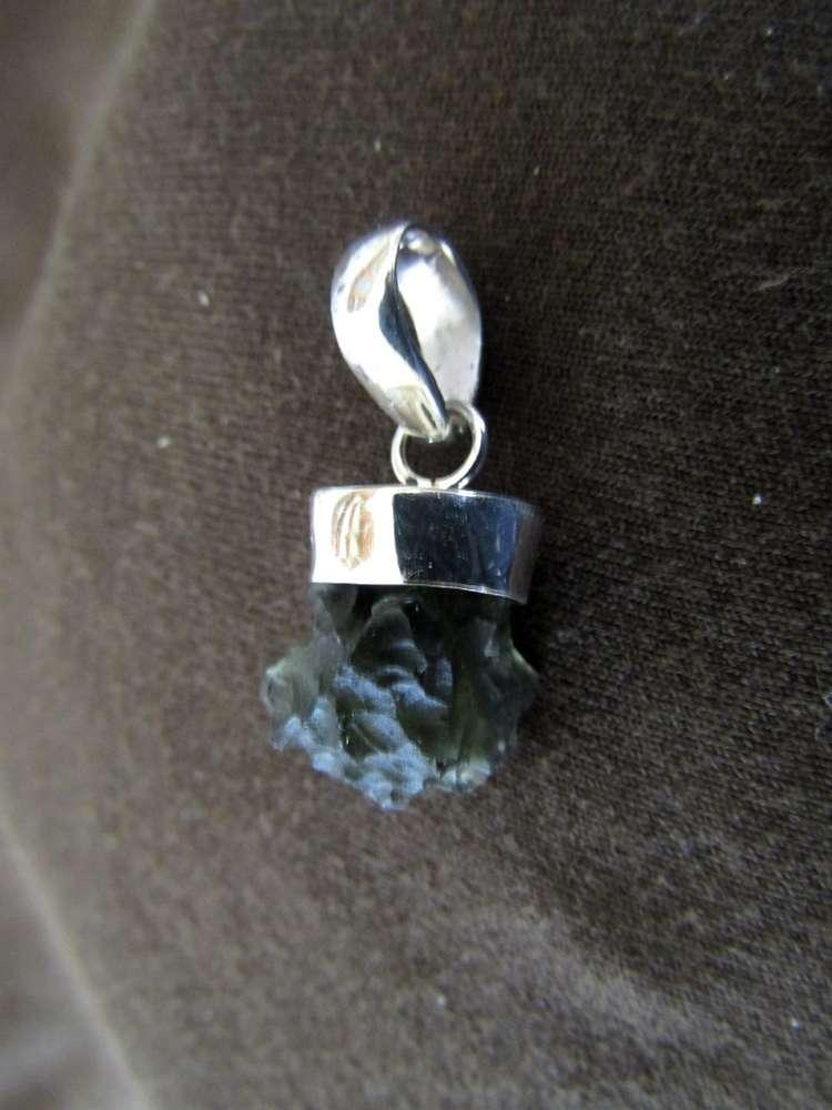 Silver Moldavite Drop Pendant - Silver Jewellery Sales