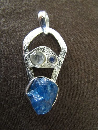Silver Iolite and Moonstone Pendant