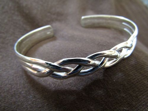 Silver Braided Open Back Bangle