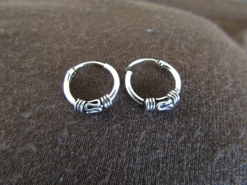 Silver Decorated 10mm Hoop Earrings